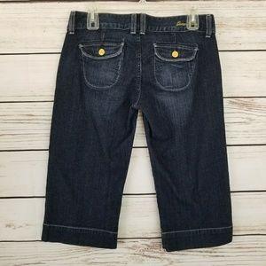 Guess Jeans Dark Wash Crop Capris Bling Buttons